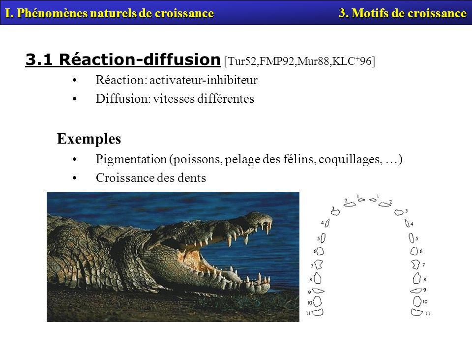 3.1 Réaction-diffusion [Tur52,FMP92,Mur88,KLC+96]